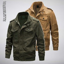 купить Vaguelette Mens Military Style Jackets Mandarin Collar Army Jacket Plus Size Male Bomber Coats M-6XL по цене 2177.28 рублей