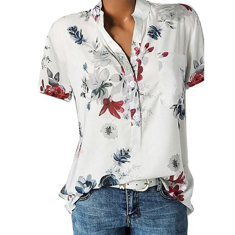 S-5XL Summer Women Chiffon Blouse Short Sleeve White Print Ladies Office Lady Shirts Work Top Plus Size Casual Female Clothing