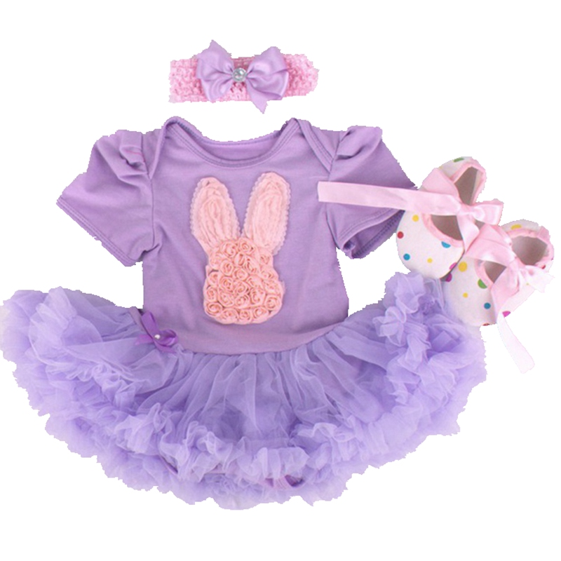 Rabbit Applique Newborn Baby Tutu Sets 3pcs Bebe Lace Romper Dress Crib Shoes Headband Children Clothing Toddler Girls Tutus Set