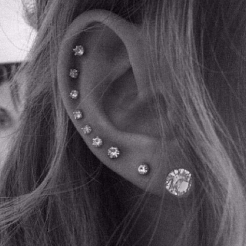 Cubic Zirconia Earrings Studs Women Men Stainless Steel Ear Piercing Stud Earring Small men women spike metal screw male Jewelry