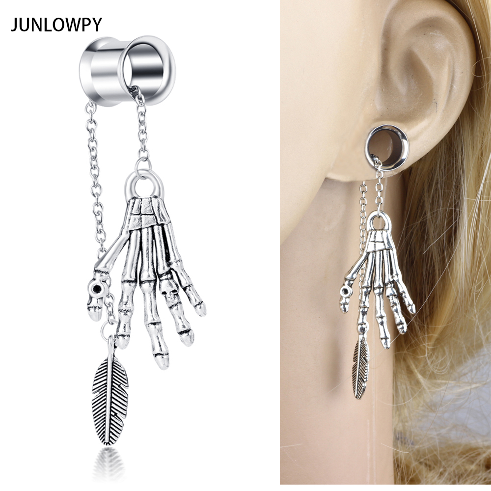 JUNLOWPY Steel Piercing Plugs Gauges 2pcs Woman Dangle Ear Flesh Tunnel Piercings Earrin ...