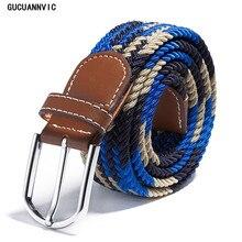 цена на The new 39 color stretch woven belt factory direct wholesale spot men's women's leather belt canvas belt