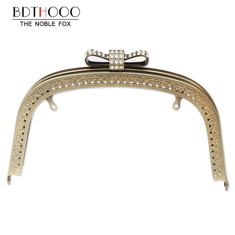 10pcs 18.5cm Kiss Clasp Lock for Women Clutch Handbag Metal Purse Frame Handle DIY Clasp Hardware Embossed Bag Accessories