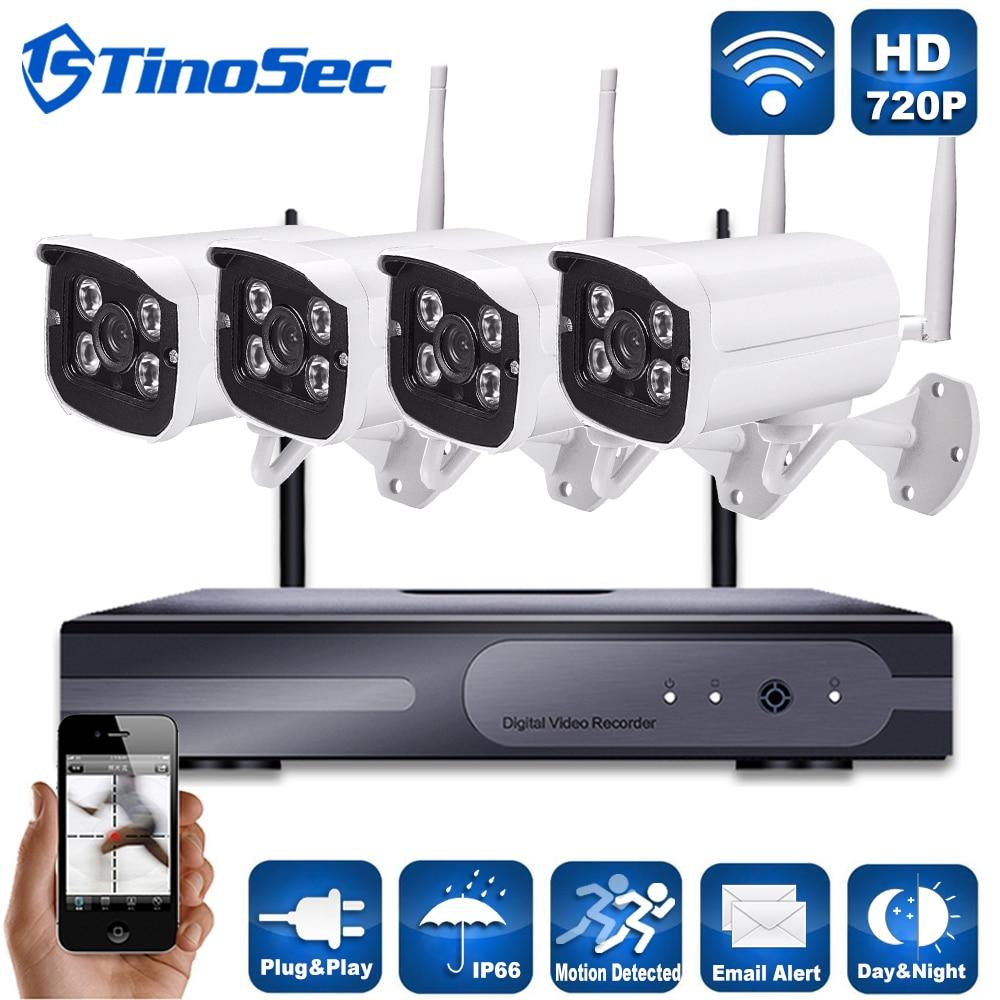 4CH font b Wireless b font 1 0MP Array Camera Kit 720P HDMI P2P ONVIF NVR