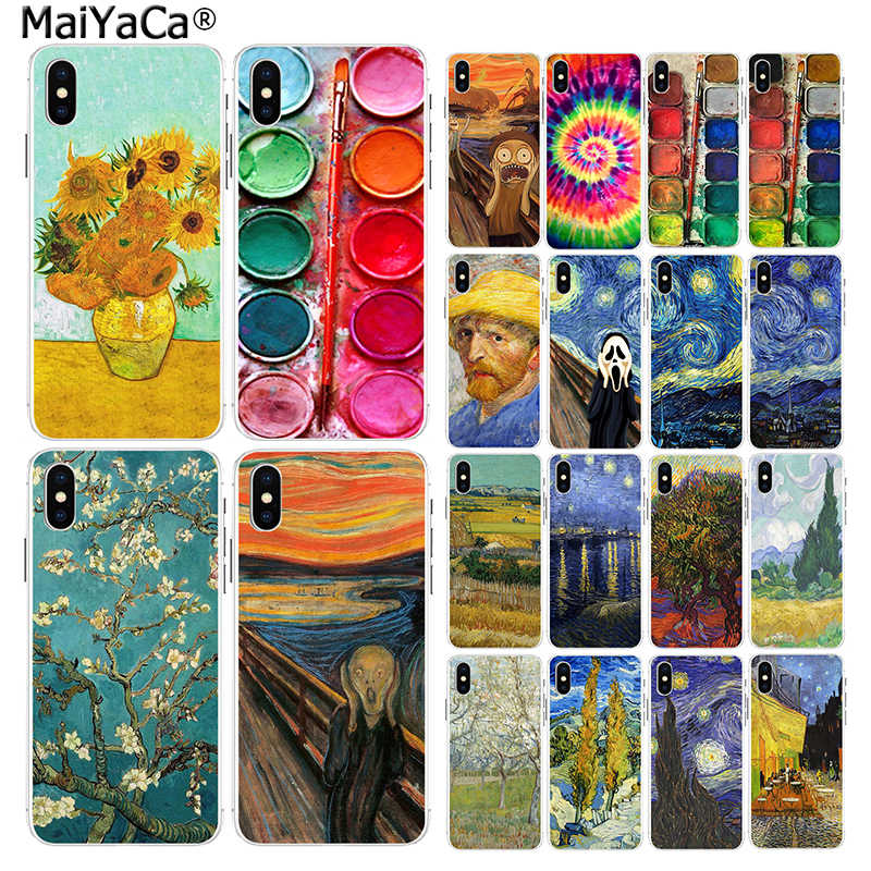MaiYaCa Voor iphone 11 pro X 5s XR SE 8 plus 6 7 8 6s plus case Scream door munch Van Gogh zon Bloem Landschap Palet Case XS MAX