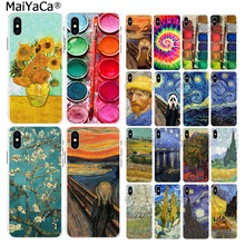MaiYaCa For iphone 11 pro X 5s XR SE 8 plus 6 7 8 6s plus case Scream by Munch Van Gogh sun Flower Scenery Palette Case XS MAX(China)