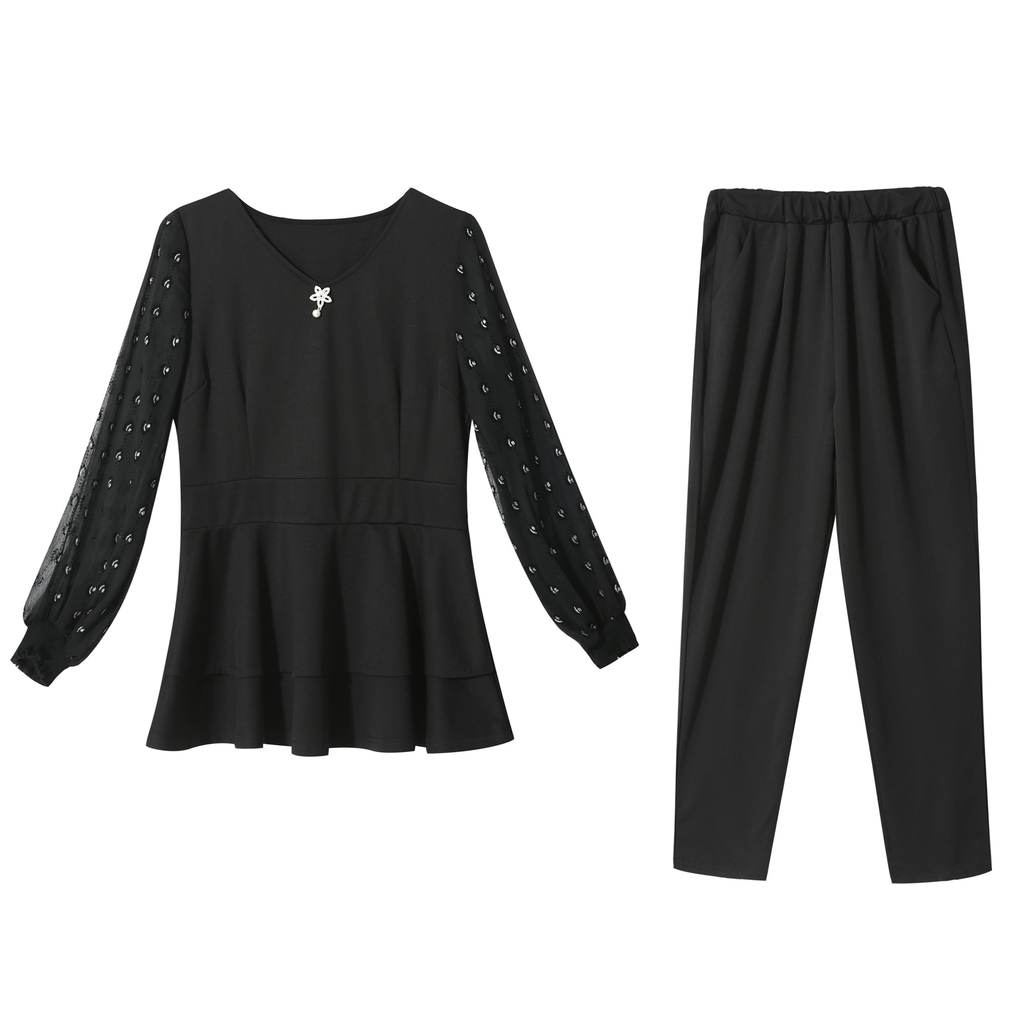 Black Plus size 2 piece set top and pants suits tracksuits women L 4XL 5XL outfit sportswear fitness co ord set large clothes in Women 39 s Sets from Women 39 s Clothing