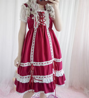 Lolita JSK Dresses 2018 Janpan Girls Lace Ribbon Strap Loli Maid Dress Retro Sweet Stage Cosplay Dresses A Line Vintage Costume
