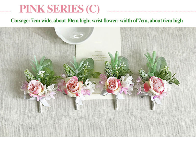 bridal wrist corsage Groom Groomsman boutonniere Brooches rose artificial wedding flower  (3)