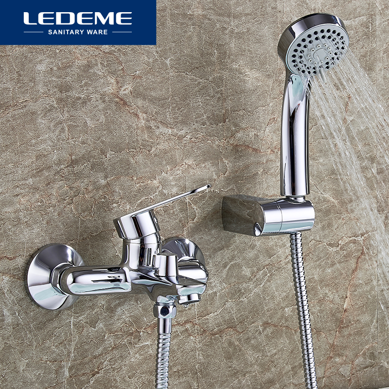 LEDEME Modern Bathtub Faucet Bathroom Shower Bath Faucet Mixer Tap With Hand Shower Head Shower Faucet Set Wall Mounted L3010 ledeme bathtub faucet modern style bath faucet in wall waterfall mixer tap bathtub crane bathroom shower faucet set l2619