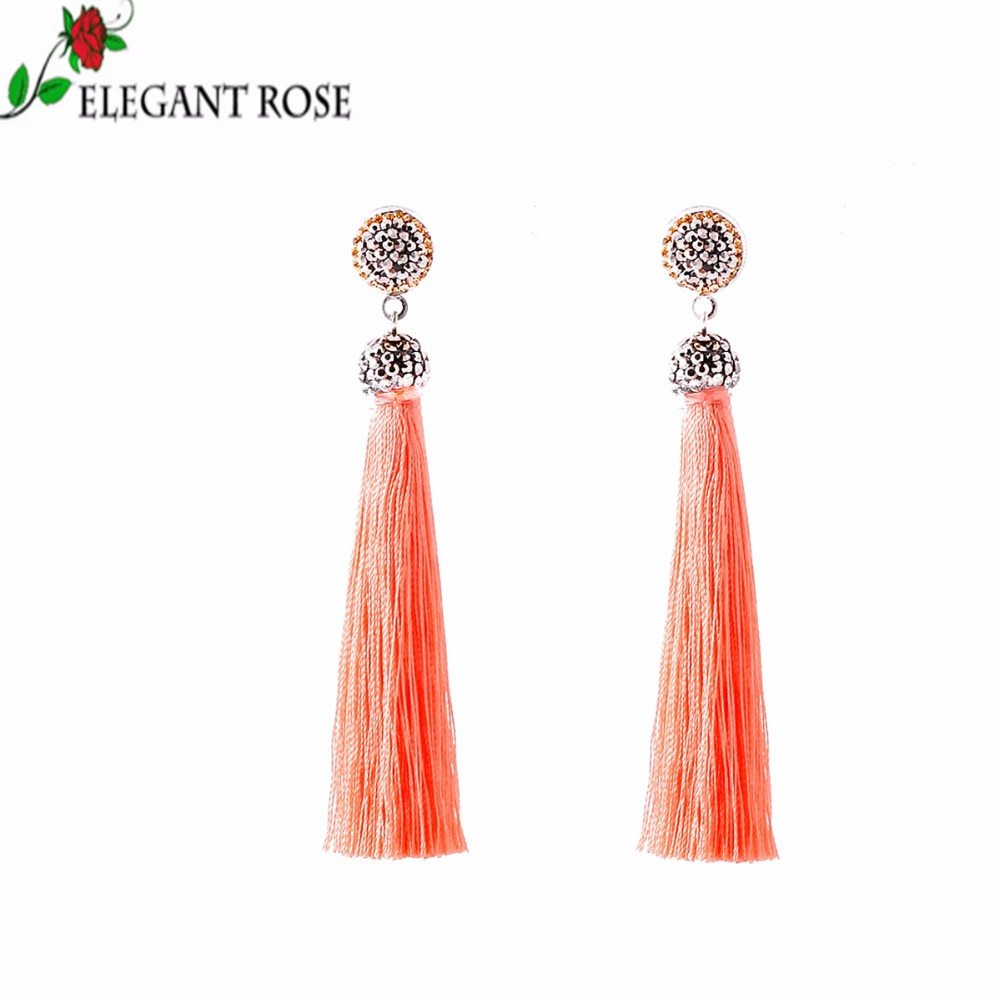 2017 New Fashion Wonderful A Variety Of Colors Tassel Drop Earrings for Charming Women Gift  Jewelry Wholesale E3135