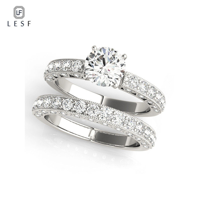 LESF Women Fashion Ring Set 925 Silver Shining Round cut Zircon For Discount Couple Wedding Rings Bridal Jewelry
