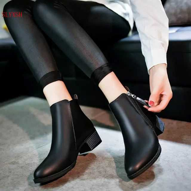 New fashion black andred Autumn Winter Women Boots Suede Female Side Zipper  Boots Vintage Fashion Ankle Boots