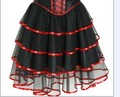 Бесплатная доставка бурлеск корсет, юбка туту, S, M, L, XL, 2XL красный розовый синий фиолетовый 7007