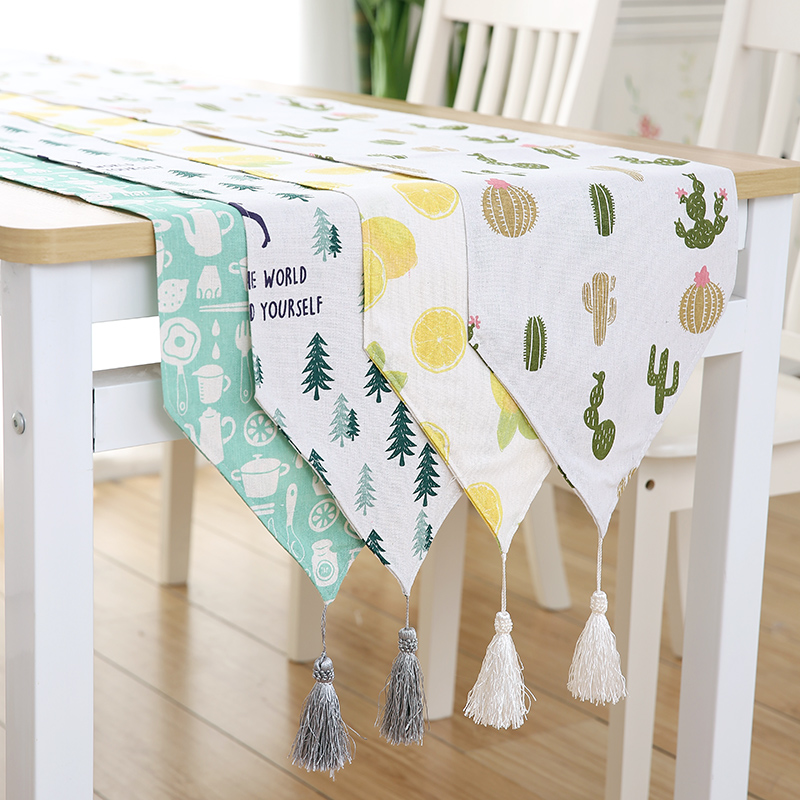 Cotton And Linen Table Runners Modern Green Plaint And Geometric Pattern Table Cloth Runner For Party Wedding Decor Crafts