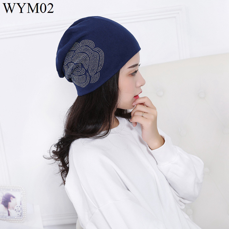 F&u Fashion Cotton & Cashmere Woolen Yarn Knitted Rose Hats Casual Warm Hat Fashion For Female In Winter 4 Colors Available Perfect In Workmanship