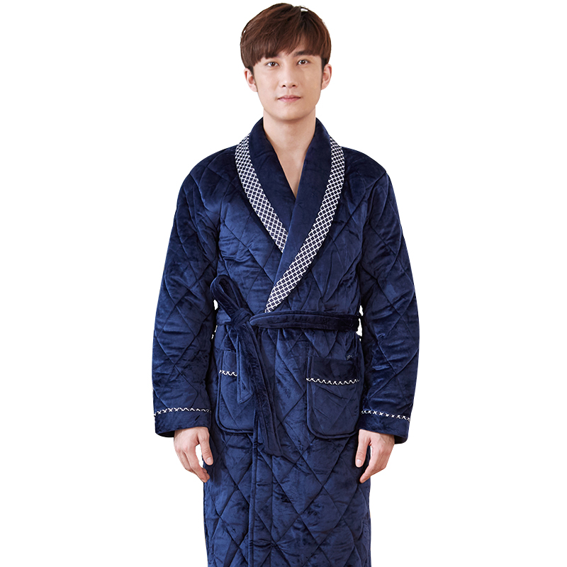 New Arrival Men's Winter Quilted Robe Male Warm Long Bathrobes Comfortable Thick Bath Robe Dressing Men Solid Homewear Plus Size