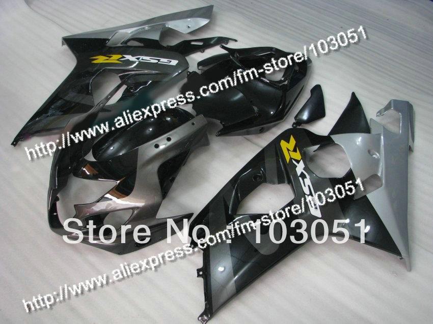 bodywork for SUZUKI 2004 GSXR 750 fairing K4 2005 GSXR 600 fairings 04 05 glossy black with silver Dn61 bodywork fairing set e for suzuki gsxr600 750 k4 2004 2005 black painted abs new [ck114]