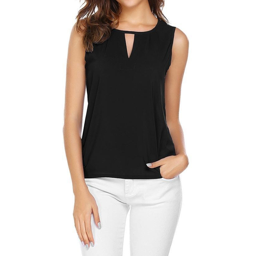 Fashion Women Tshirt <font><b>Sexy</b></font> Solid O-Neck Hollow Out Sleeveless Crop <font><b>Camisetas</b></font> <font><b>Verano</b></font> <font><b>Mujer</b></font> 2019 Tee Shirt Femme Poleras <font><b>Mujer</b></font> image