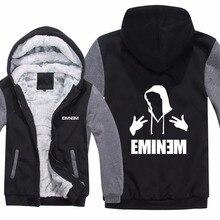 Hip Hop EMINEM Hoodies chaqueta espesar cremallera invierno Fleece Liner  lana música Rap hombre sudadera Pullover a3fe4984633