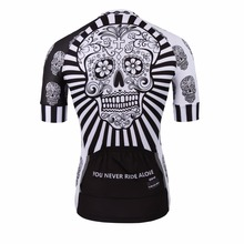 Men's Quick Dry White Scull Sublimation PRO Polyester Bikes Jersey