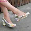 Vinlle 2015 новые женщины туфли на высоком каблуке красивый рисунок весна лето свежий стиль обувь свободного покроя квадратный каблук ну вечеринку обувь размер 34-43