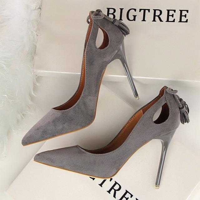 2016 Nuevas Bombas Sexy Delgada Zapatos de tacón alto Señaló Ante Hueco-Hacia fuera Del Bowknot Borla OL Oficina de Las Mujeres Elegantes Zapatos de G3168-9