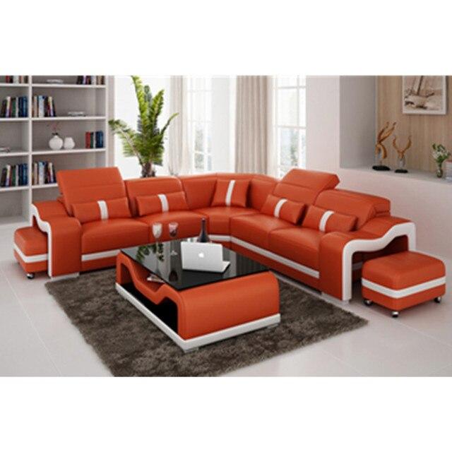 big size l shaped living room furniture deep orange