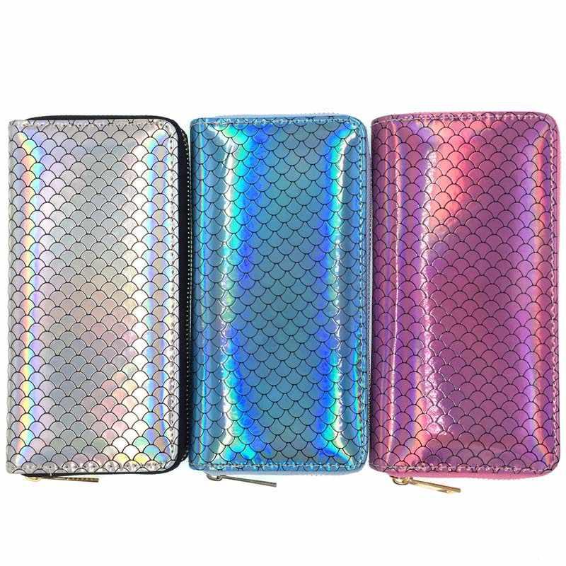 KANDRA nuevo estilo holográfica sirena cartera azul plata y púrpura escamas Magic Wallet Clutch cremallera monedero tarjetero bolso de mujer