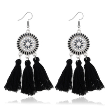 WNGMNGL Bohemia Handmade Tassel Earrings Fashion Ethnic Long Statement Black Blue Fringe Drop Dangle Earrings For Women Jewelry bohemia round fringe dangle earrings