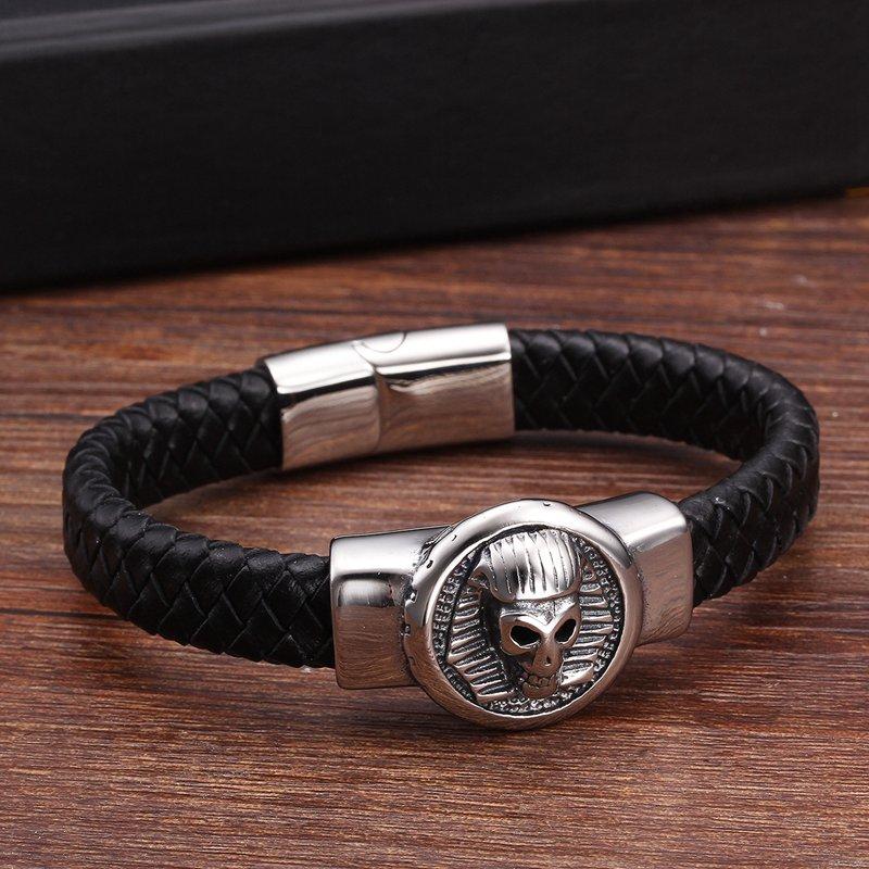 New Brand Animal Lion Charm Genuine Leather Bracelets Vintage Handmade Braided Fashion Men Male Cuff Sporty Bracelets