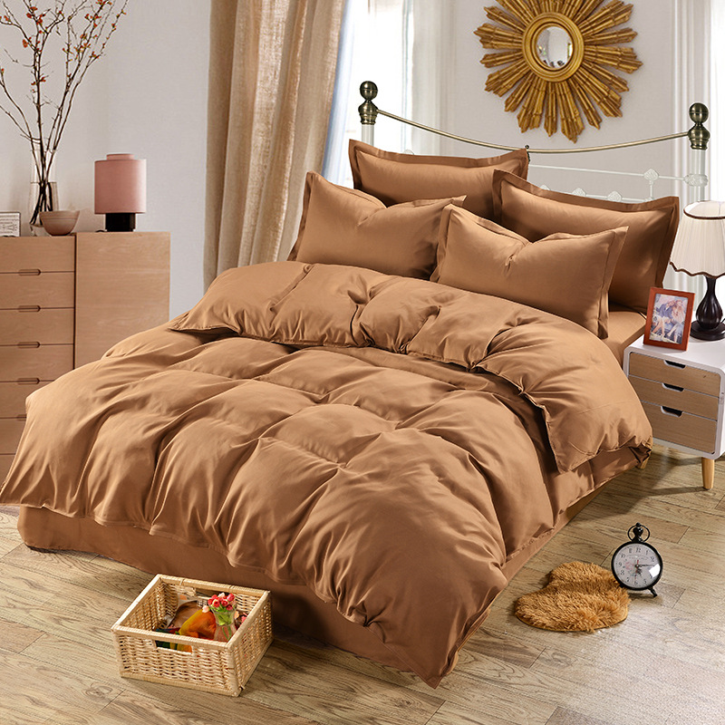 Home Textile Coffee Bedding Set 100% Microfiber Duvet Cover 4pcs Bed Set Solid Twin Full Queen King Size Bedclothes Adult Sheet