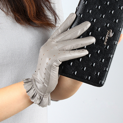 Women Leather Glove Ruffle...