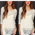 2016 The New Hot Style Summer Women Chiffon Tops Crochet Lace vest Blouse Sexy Open Back sleeveless shirt tank tops Black H045