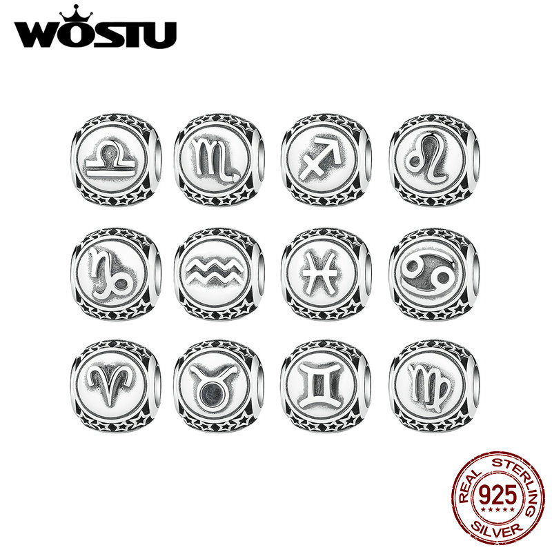 Hot Sale Genuine 925 Sterling Silver 12 Constellation Charm Beads Fit Original WST Bracelet Authentic DIY Jewelry Gift цена 2017