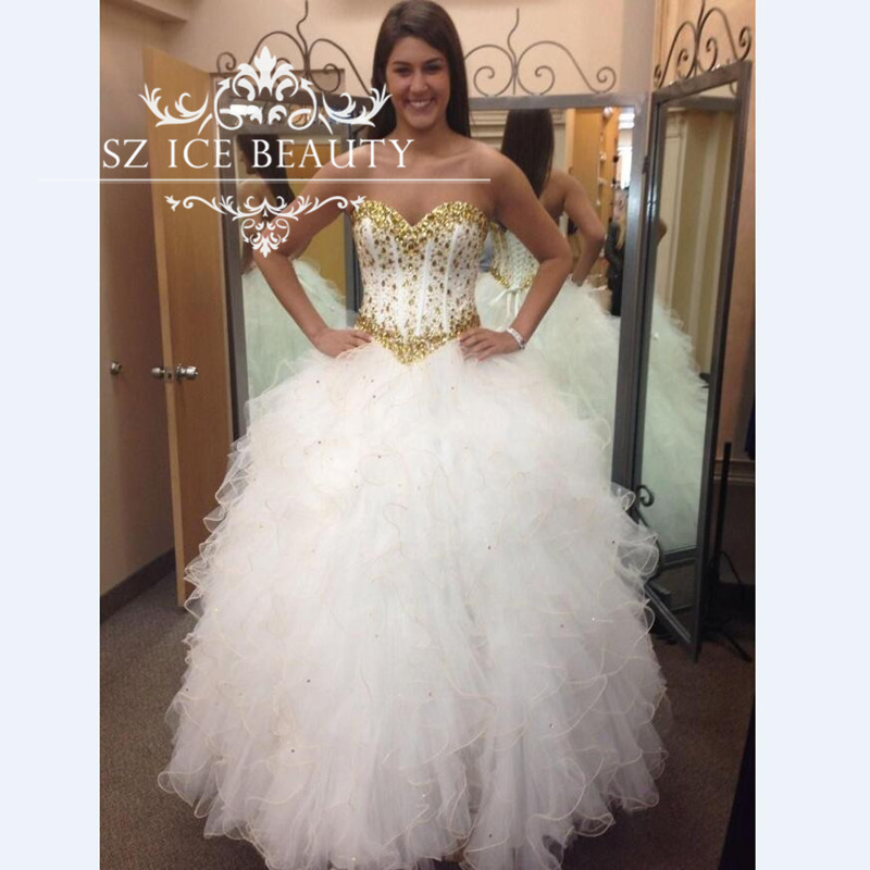 High Quality Quinceanera Dresses White and Gold-Buy Cheap ...