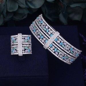 Image 5 - GODKI luksusowe duże delikatne luksusowe wielokolorowa cyrkonia sześcienna wesele saudyjskoarabski dubaj bransoletka zestaw pierścieni