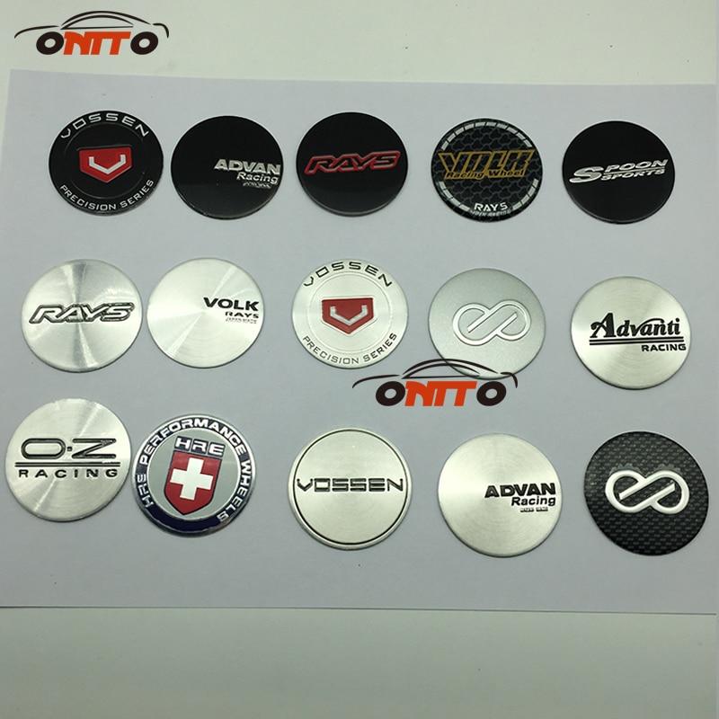 4PCS/LOT 45MM ADVAN RACING VOLK SPOON WORK Wheels Center Cap Stickers VOSSEN OZ LOGO Sticker Auto Wheel Center Label Emblem