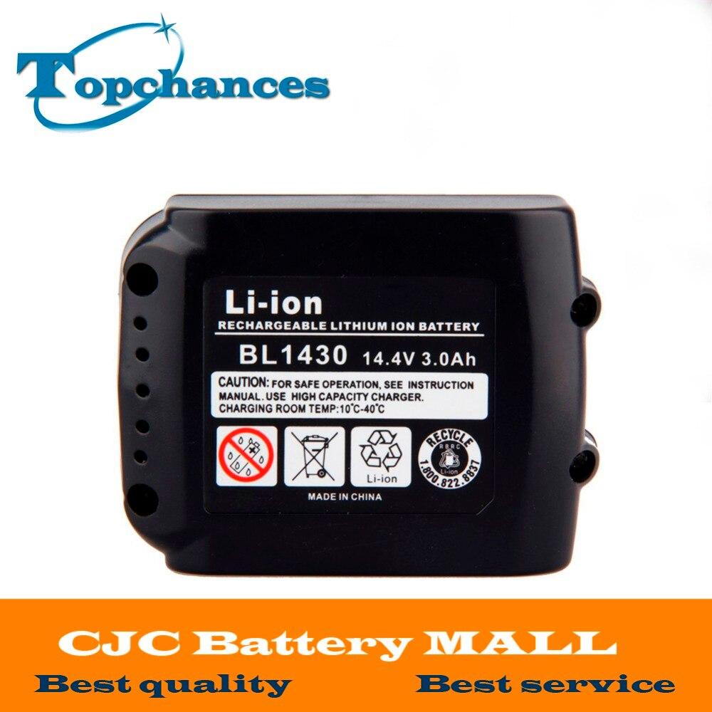 High Quality 14.4V 3000mAh Li-Ion Power Tool Replacement Battery For Makita BL1430 194065-3 194066-1 2pcs lot 14 4v 3 0ah lithium ion power tools replacement battery for makita bl1430 da340drf bdf343 194065 3 194066 1 bl1430