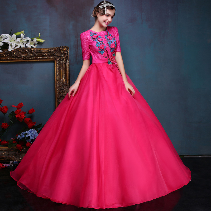 Luxury Rose Red Short Sleeves O-neck Solo Ball Gown Vestidos Forest Flowers Embroidery Floral Costumes