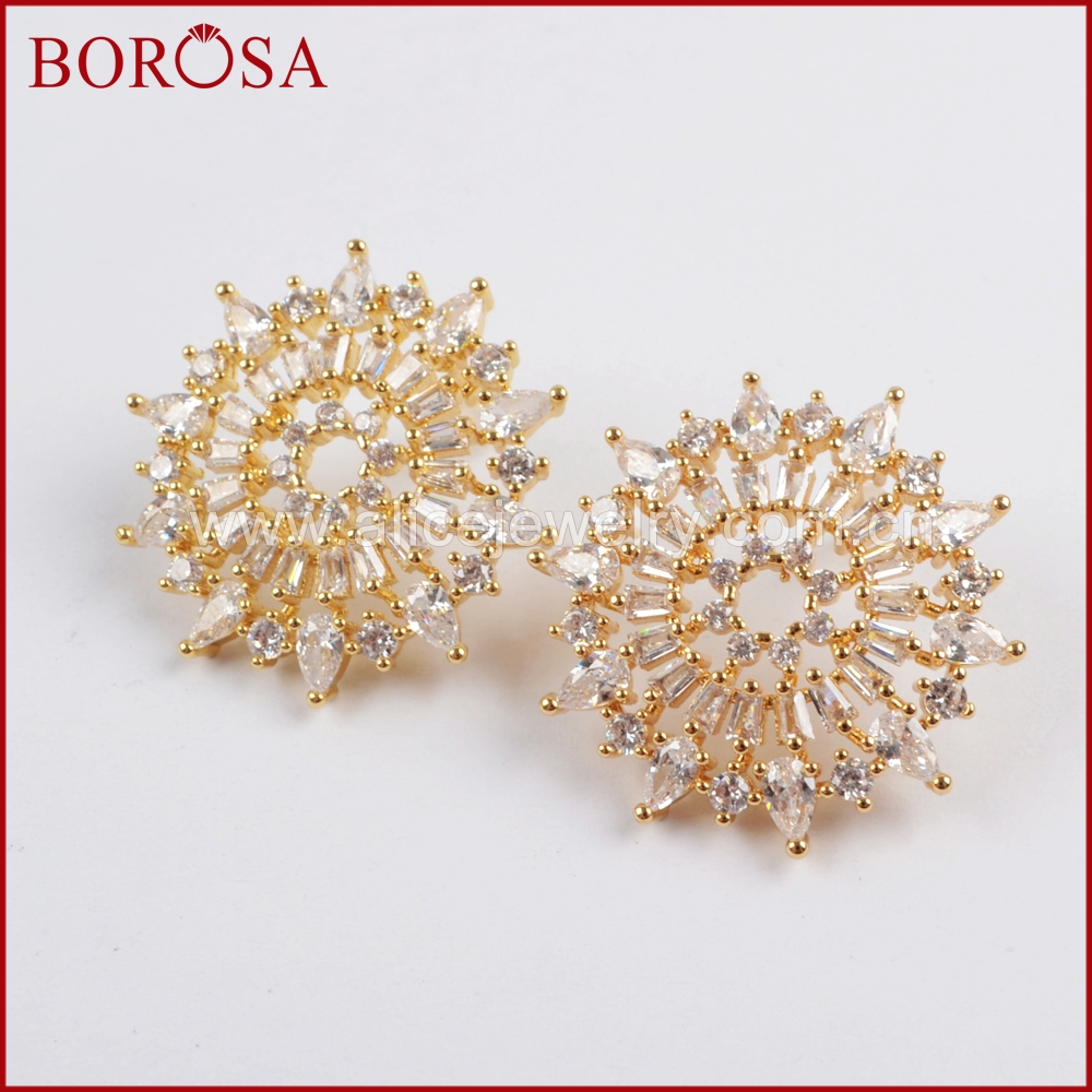 BOROSA New Collection CZ Micro Pave Crystal Gold Metal Stud Earrings for Women Drusy Fashion Earrings Jewelry Party WX783