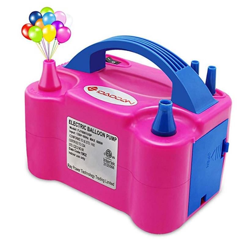 Balloon Air Pump Electric Dual Nozzle Inflator Pump 600W High Power Inflator Blower Portable Pump for Party Wedding Birthday Promotional Activities