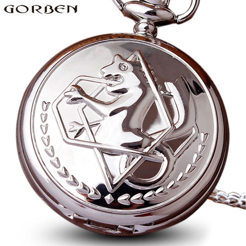 Vintage Fullmetal Alchemist Cosplay Edward Elric Quartz Pocket Watch Necklace Anime Boy Girls Chain Pendant Men Women Silver