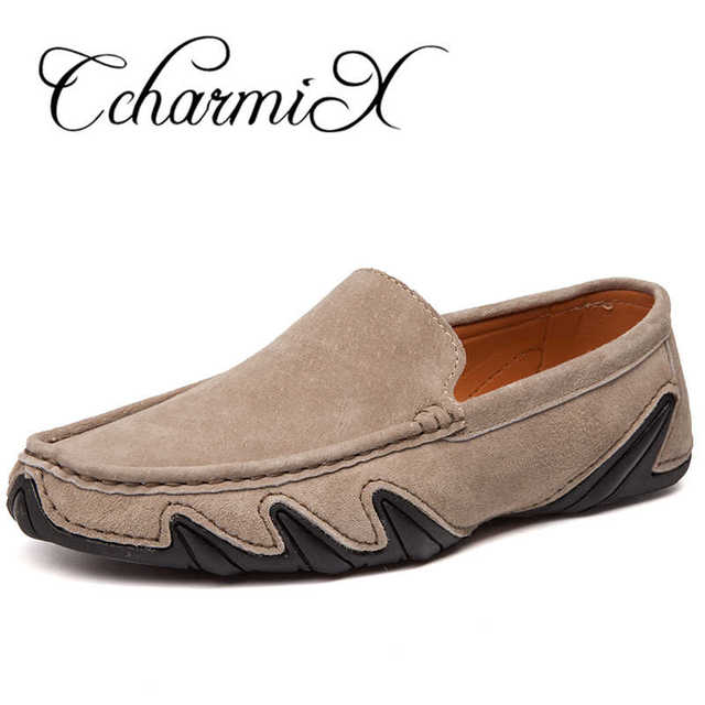 CcharmiX Summer Walking Breathable Casual Shoes New Fashion Moccasins Men Loafers Suede Leather Mens Driving Boat Shoes Big Size 1