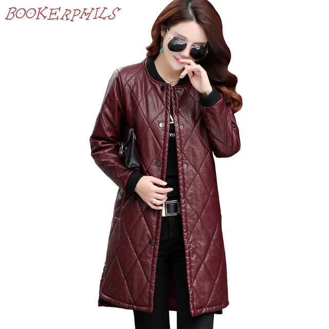 Women Leather Jackets 2017 Brand Autumn Winter New Ladies Europe Fashion Faux Leather Long Jackets Coat Female Outerwear Clothes