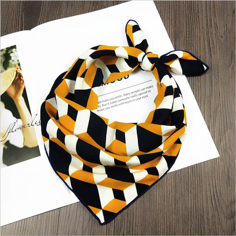 50*50cm Women's Scarf Fashion Spring Summer Striped Silk Square Scarves Girls Printed Handkerchief  Chiffon Scarf Neck Accessory