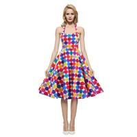 2016 Women Summer Elegant Cute Clothing Audrey Hepburn Floral Robe Retro Swing Casual 50s Vintage Rockabilly
