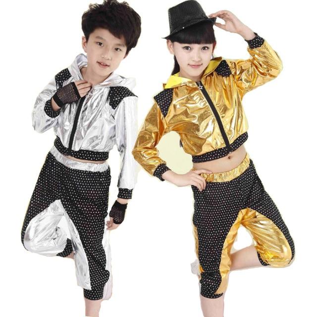 Niños Niñas de Lentejuelas de Baile Moderno Jazz Hip Hop Dance Competition  Trajes Sistema del Hoodie e7d1f1194da