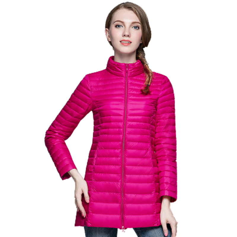 a7cd3f62adac0 OMLESA 2017 Autumn Winter Women Puffer Coats Long Down Jacket Slim Duck  Down Lightweight Parka Plus Size 4XL Light Coat YQ104