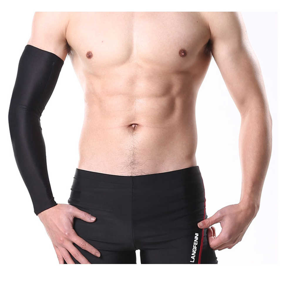 fa575a710d ... 1Pcs Breathable Quick Dry UV Protection Running Arm Sleeves Basketball  Elbow Pad Fitness Armguards Sports Cycling ...